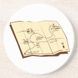 Porta-copos De Arenito O mapa da fuga com X marca o Woodcut do ponto