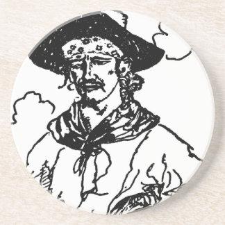 Porta-copos De Arenito O vintage pirateia o esboço de um capitão por