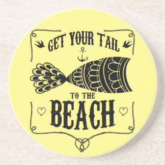 Porta-copos De Arenito Obtenha sua cauda à praia