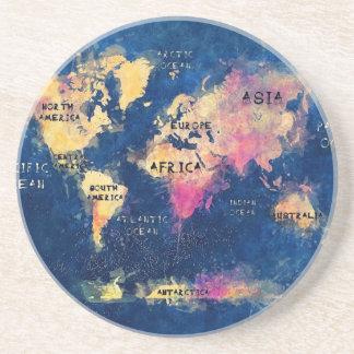 Porta-copos De Arenito OCEANOS e continentes do mapa do mundo