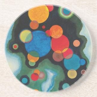 Porta-copos De Arenito Óleo aprofundado do abstrato do impulso em canvas