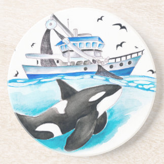 Porta-copos De Arenito Orca e o barco