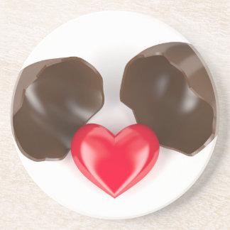 Porta-copos De Arenito Ovo e coração de chocolate