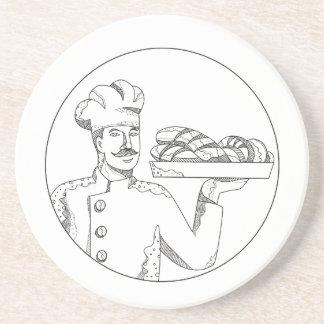 Porta-copos De Arenito Padeiro que guardara o pão na arte do Doodle da