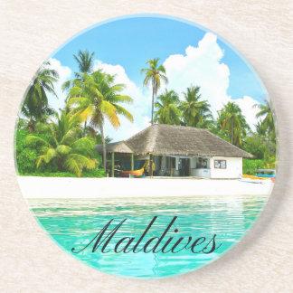 Porta-copos De Arenito Paisagem bonita de Maldives