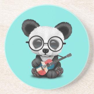 Porta-copos De Arenito Panda do bebê que joga a guitarra dominiquense da