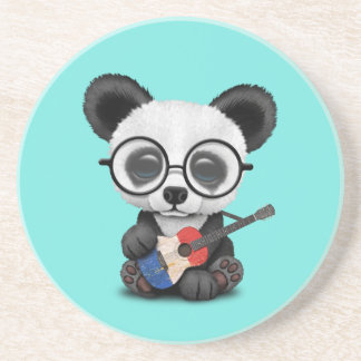 Porta-copos De Arenito Panda do bebê que joga a guitarra francesa da