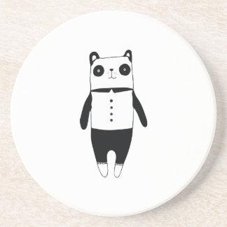 Porta-copos De Arenito Panda preto e branco pequena