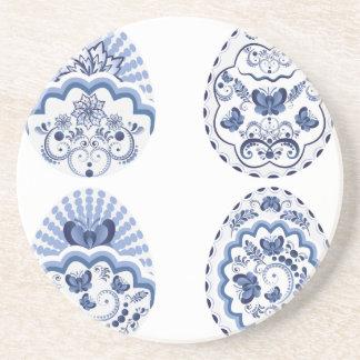 Porta-copos De Arenito Páscoa floral azul Eggs2