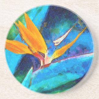 Porta-copos De Arenito pássaro da flor de paraíso
