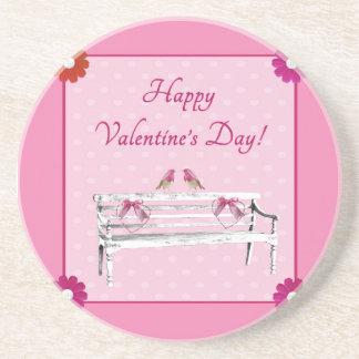 Porta-copos De Arenito Pássaros dos namorados, os cor-de-rosa e os