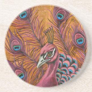 Porta-copos De Arenito Pavão cor-de-rosa