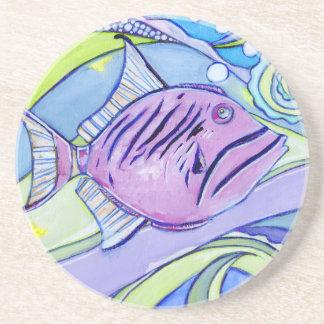 Porta-copos De Arenito Peixes de Surfin