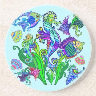 Porta-copos De Arenito Peixes exóticos & cavalos marinhos da vida marinha