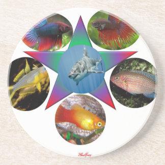 Porta-copos De Arenito peixes, peixe dourado, carpa, pesca, mar, oceano,