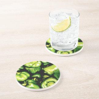 Porta-copos De Arenito Pimentas de Bell verdes