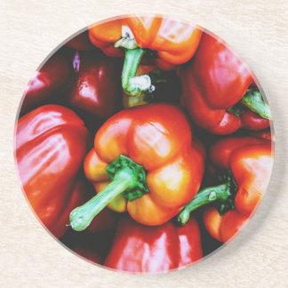 Porta-copos De Arenito Pimentas de Bell vermelhas