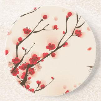 Porta-copos De Arenito Pintura asiática do estilo, flor da ameixa no