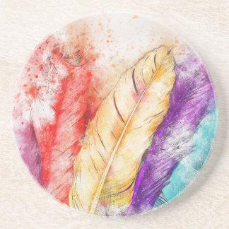Porta-copos De Arenito Pintura colorida da pena quatro como projetado