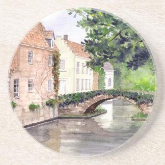 Porta-copos De Arenito Pintura da aguarela de Bruges pelo Greenfield de