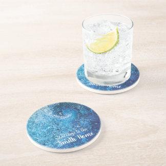 Porta-copos De Arenito Pintura do abstrato da onda da praia