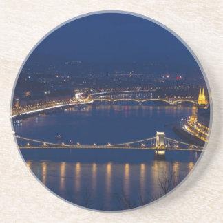 Porta-copos De Arenito Ponte Chain Hungria Budapest na noite