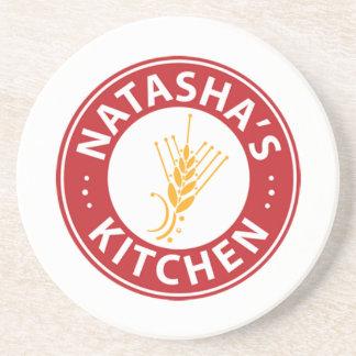 Porta-copos De Arenito Portas copos do logotipo da cozinha de Natasha
