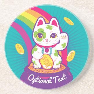 Porta-copos De Arenito Pote de boa sorte de Maneki Neko do gato de ouro