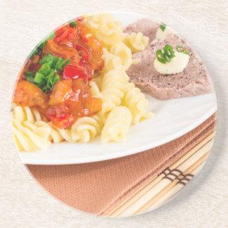 Porta-copos De Arenito Prato do almoço da massa italiana, molho vegetal