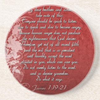 Porta-copos De Arenito Presente da escritura do 1:19 de James