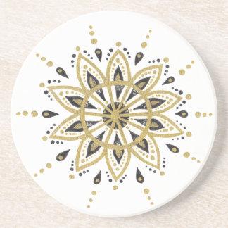 Porta-copos De Arenito Preto geométrico moderno & ouro da mandala