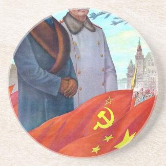 Porta-copos De Arenito Propaganda original Mao Zedong e Josef Stalin