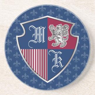 Porta-copos De Arenito Protetor de prata do emblema do monograma da