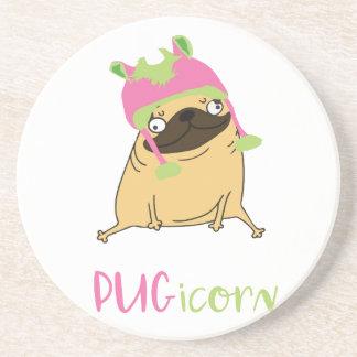 Porta-copos De Arenito Pug engraçado do unicórnio de Pugicorn