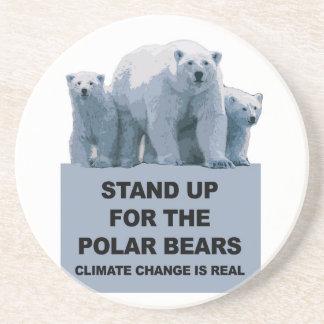 Porta-copos De Arenito Represente acima os ursos polares