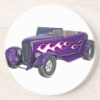 Porta-copos De Arenito Roadster de 1932 roxos com chama
