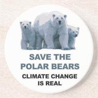 Porta-copos De Arenito Salvar os ursos polares