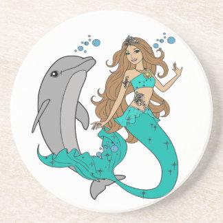Porta-copos De Arenito Sereia com golfinho