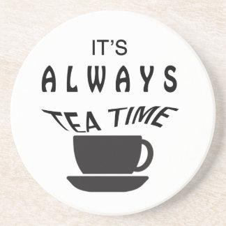 Porta-copos De Arenito Seu sempre tempo do chá