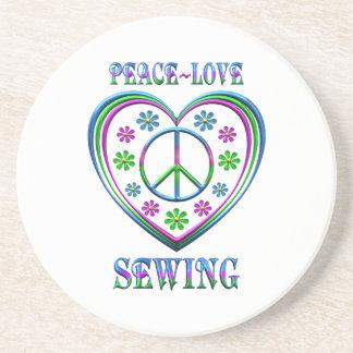 Porta-copos De Arenito Sewing do amor da paz