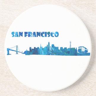 Porta-copos De Arenito Silhueta da skyline de San Francisco