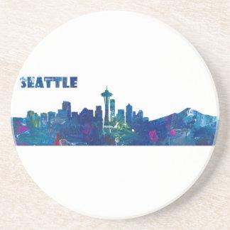 Porta-copos De Arenito Silhueta da skyline de Seattle