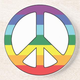 Porta-copos De Arenito Símbolo de paz do sinal de paz com cores da bandei