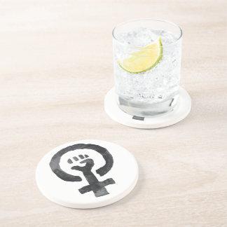 Porta-copos De Arenito Símbolo feminista do punho