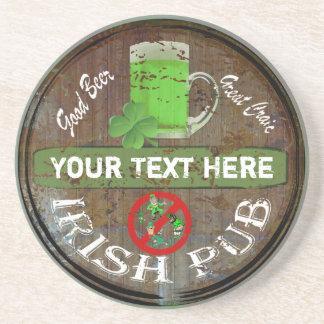 Porta-copos De Arenito Sinal irlandês personalizado do bar