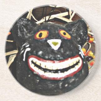 Porta-copos De Arenito Sorrindo o gato preto