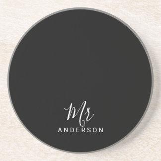 Porta-copos De Arenito Sr. e Sra. roteiro moderno preto e branco de |