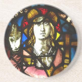 Porta-copos De Arenito St George o assassino do dragão no vitral