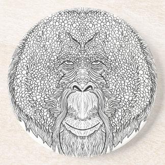 Porta-copos De Arenito T do macaco do orangotango - coloração do estilo