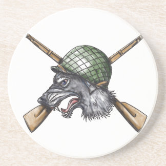 Porta-copos De Arenito Tatuagem cruzado capacete dos rifles do lobo